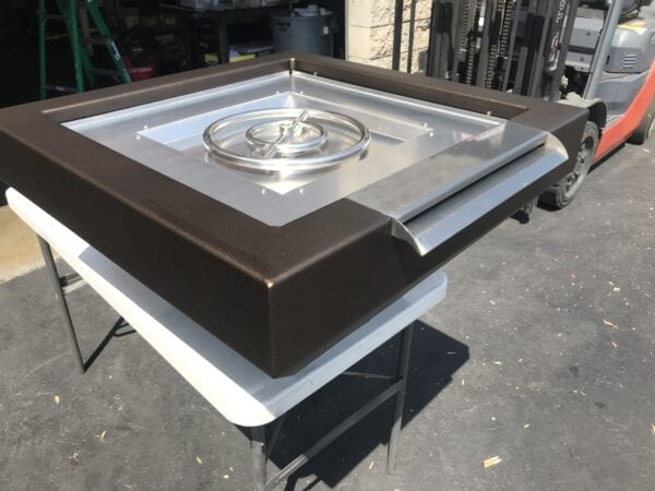 """Set of Three (3) 30""""VS - Aluminum Powder Coated Fire Bowl with Vertical Face - 16"""" Stainless Steel Scupper -12"""" Burner 65,000btu Oil Rubbed Bronze"""